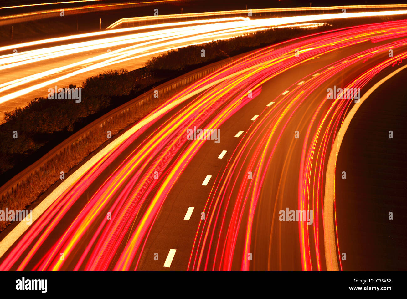 light trails on German Motorway A 14 - Stock Image