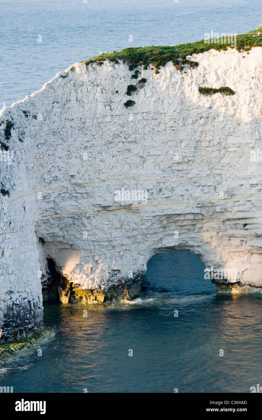 Erosion - natural arch forming at Old Harry Rocks, Dorset, UK - Stock Image