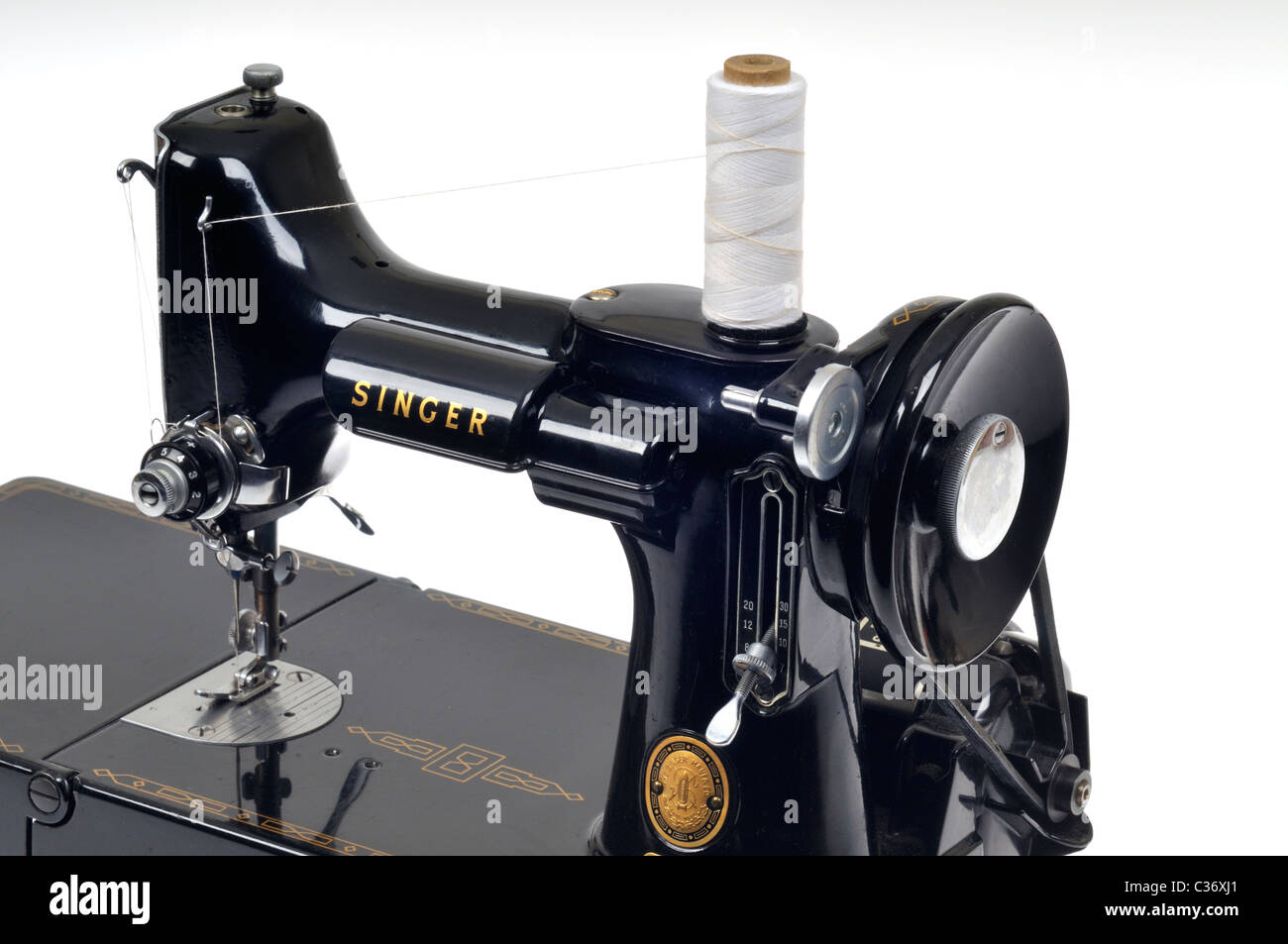 Old Singer Sewing Machine Stock Photos Parts Diagram Threading Vintage Threaded With Spool Of White Thread On Image
