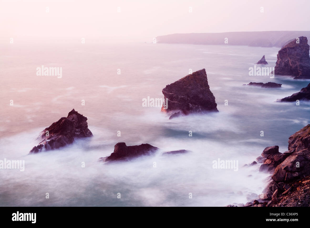 Bedruthan Steps, Cornwall, UK. - Stock Image