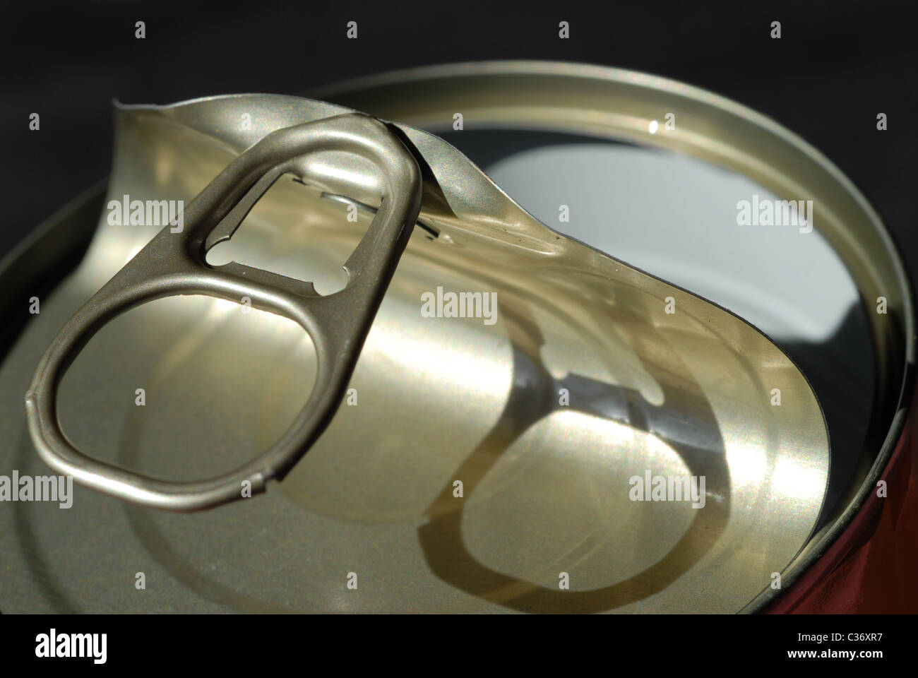 Open can with BPA lining. - Stock Image
