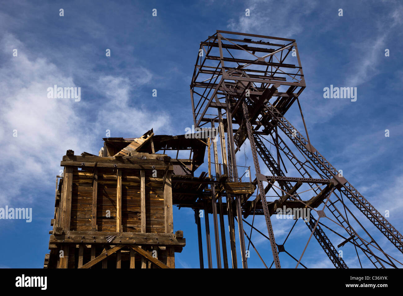 Taylor headframe at the Kelly Mine Ghost Town in Socorro County, New Mexico, USA. - Stock Image