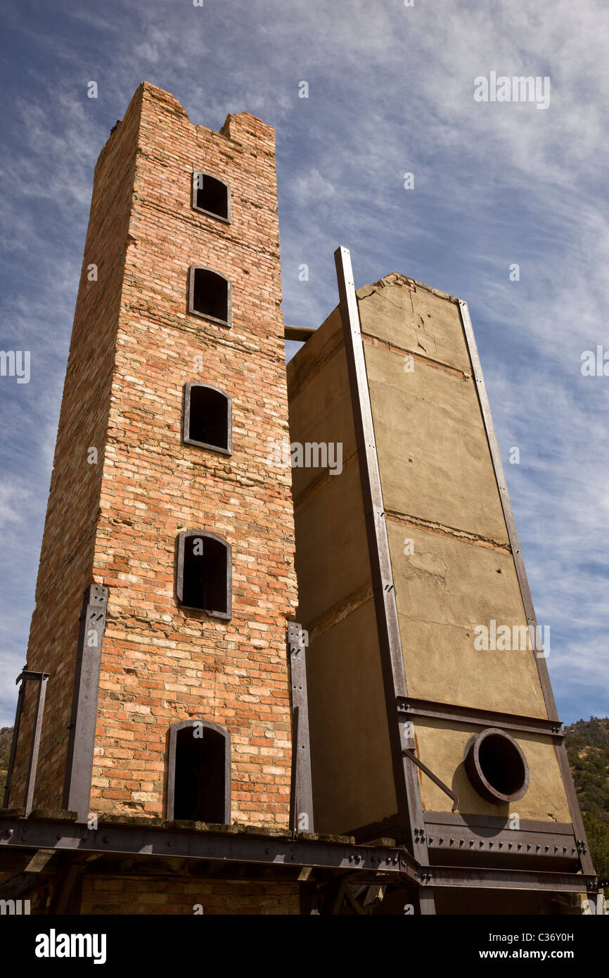 Towering smelter oven at the Kelly Mine Ghost Town in Socorro County, New Mexico, USA. - Stock Image