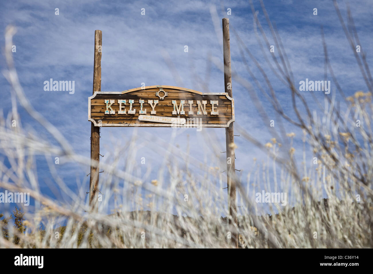 Town signpost at the Kelly Mine Ghost Town in Socorro County, New Mexico, USA. - Stock Image
