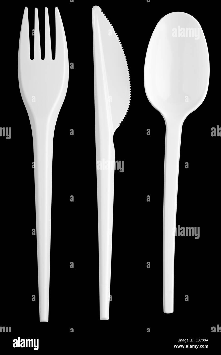 Plastic silverware - Stock Image