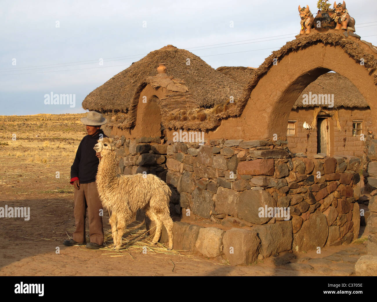 Uro farmer with lama standing in front of his farmyard. On top of the entrance is a team of ceramic buffaloes, Puno, - Stock Image