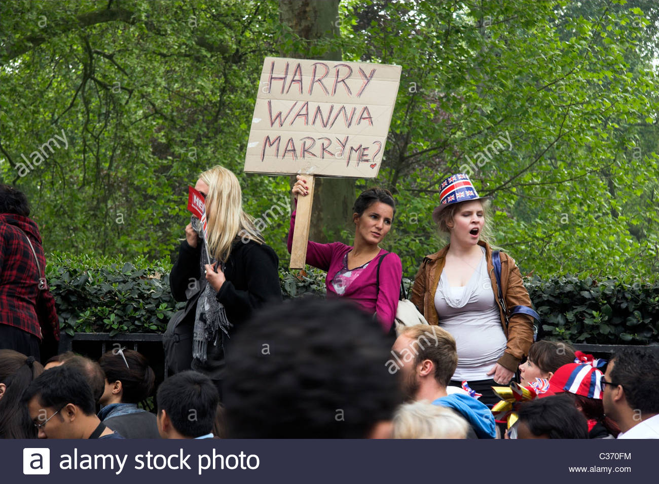 Crowds during the Royal Wedding of Prince William & Catherine Middleton. Green Park, London, UK. - Stock Image