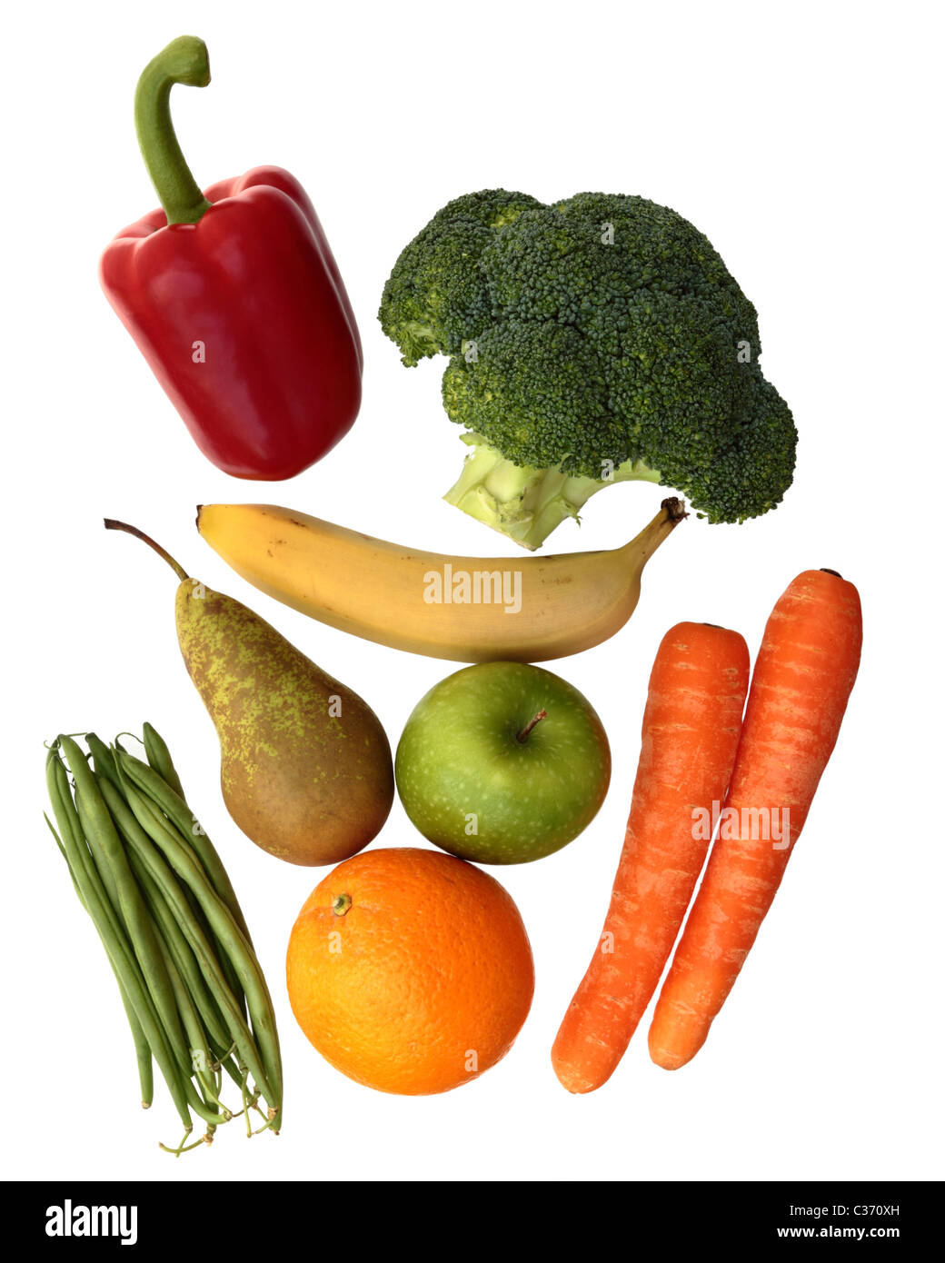Mixed fruit & vegetables. Red pepper, broccoli, green beans, carrots, banana,pear,orange and apple. Isolated - Stock Image