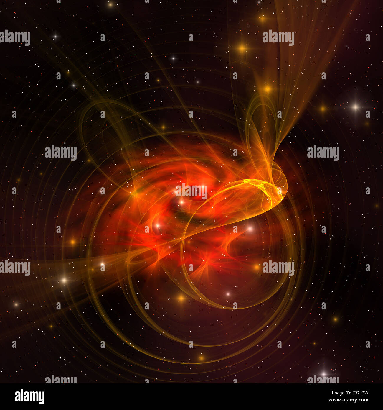A beautiful galaxy out in space has reddish orange swirls in its core. - Stock Image
