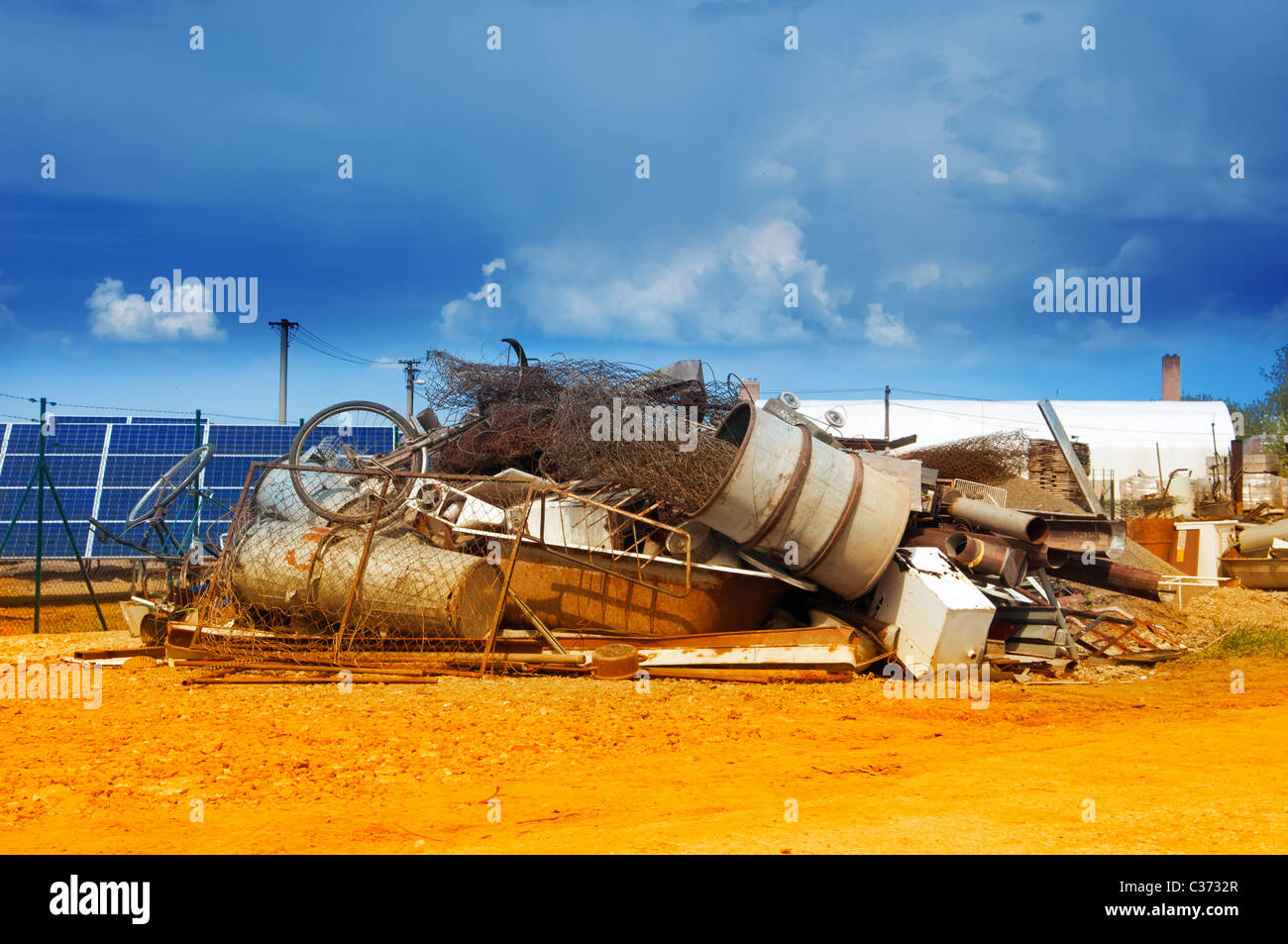 rust mess in nature - pollution - Stock Image