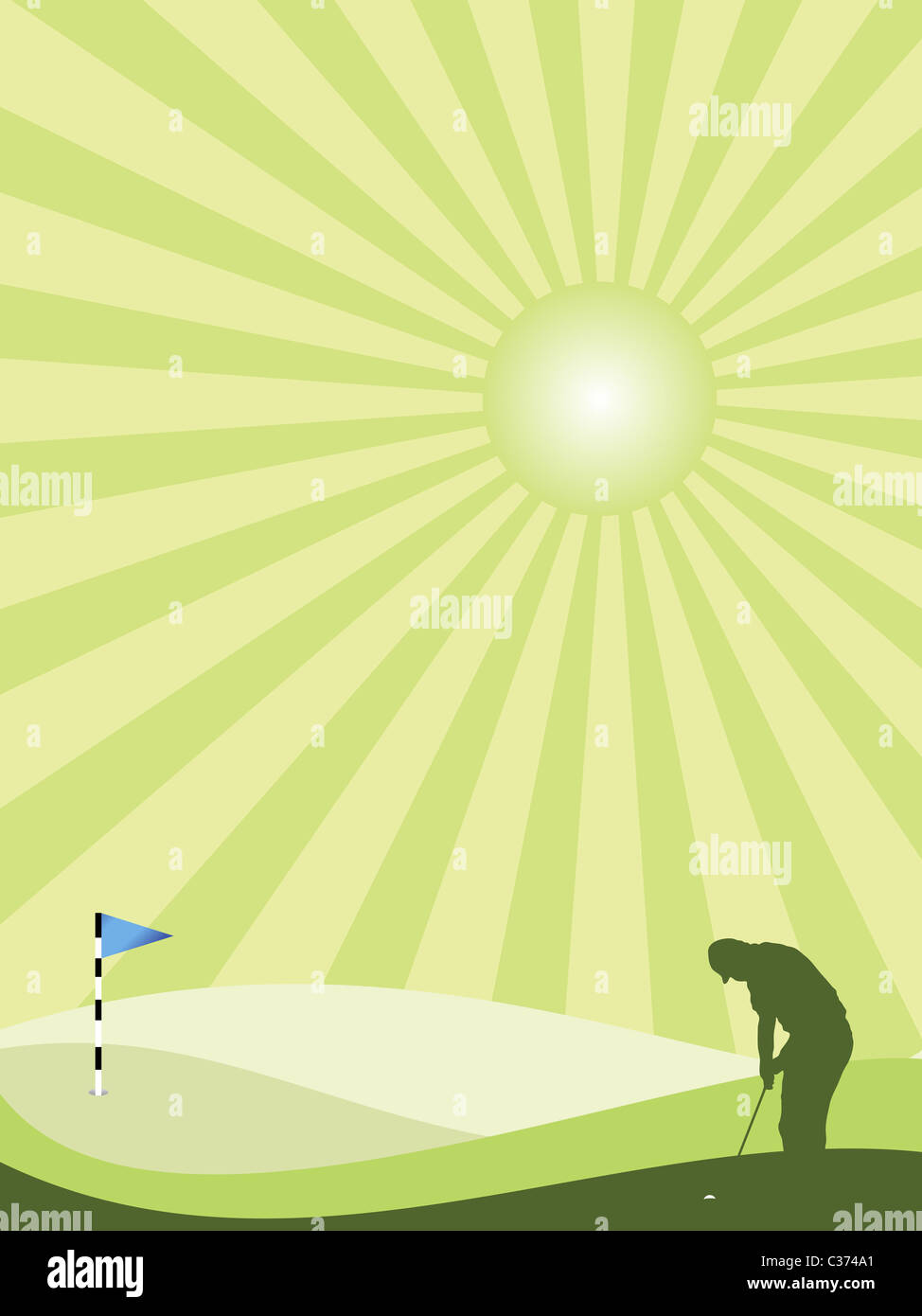 Golfer silhouette in green rolling countryside with sunburst sky - Stock Image