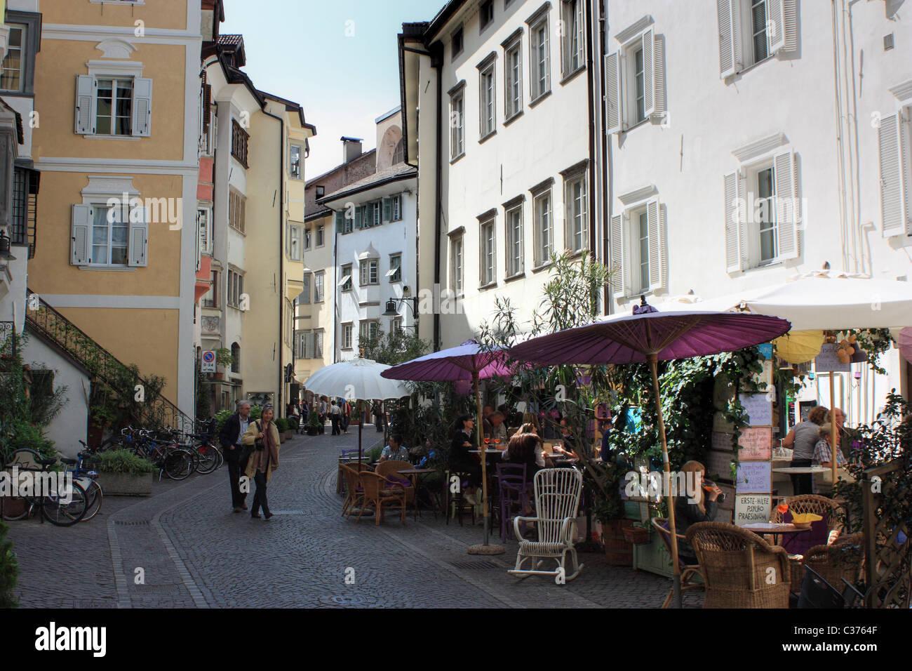 Wine bar and restaurant Fischbänke in Bozen / Bolzano, Italy - Stock Image