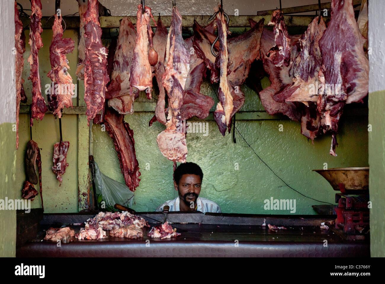 butcher shop in harar ethiopia - Stock Image