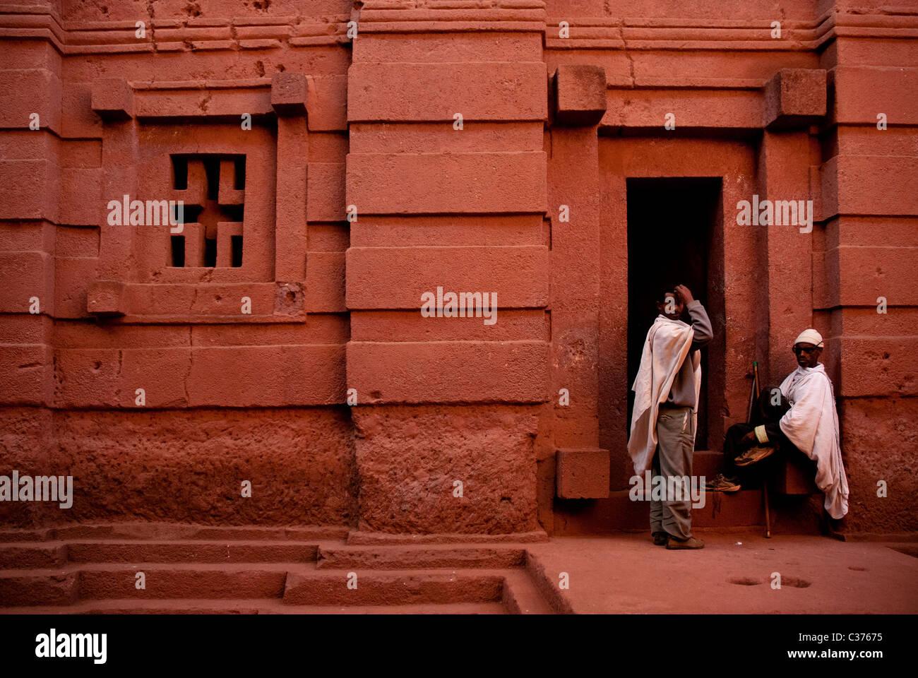 guards at lalibela rock hewn church in ethiopia - Stock Image