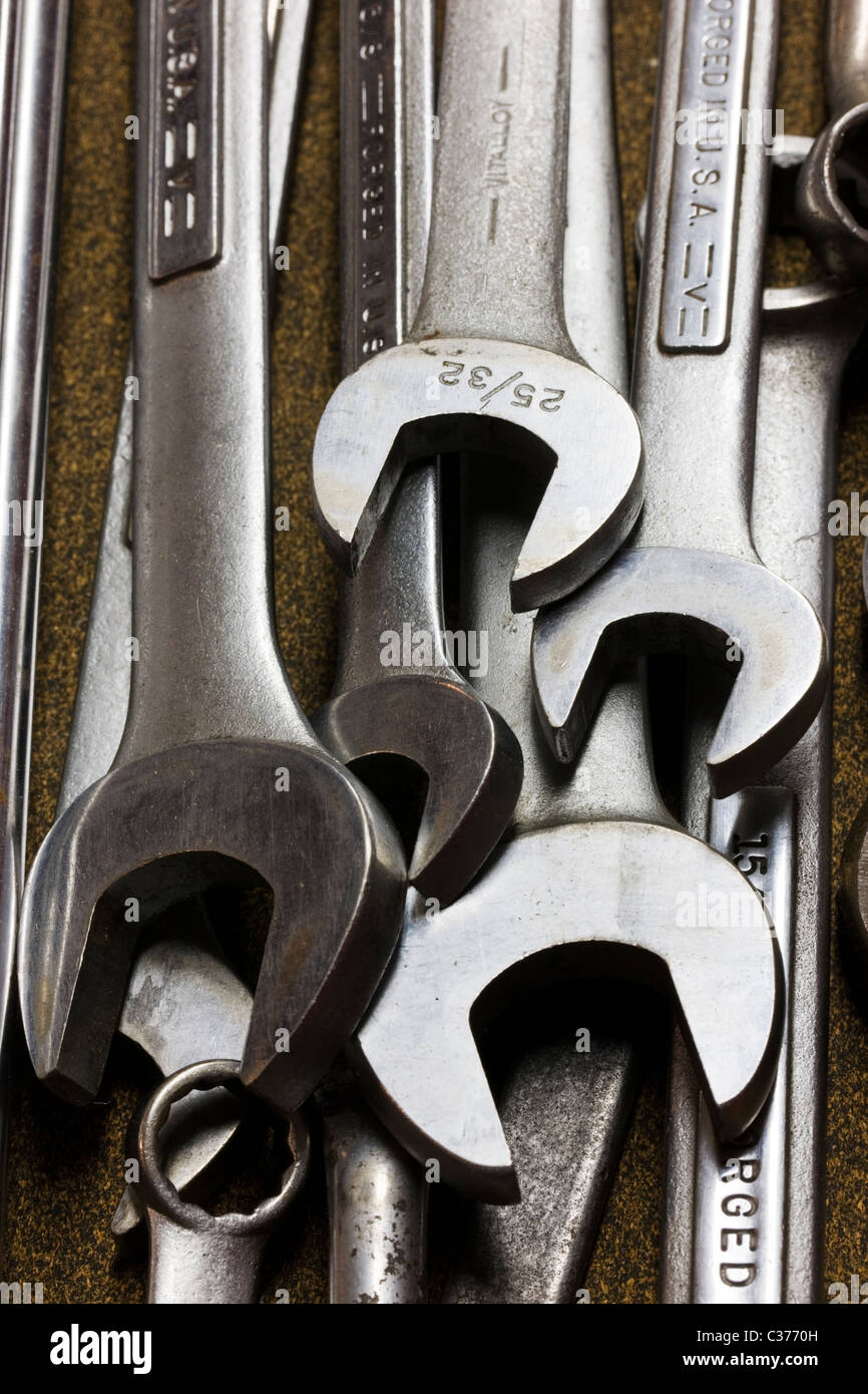 Close-up macro photograph of a mechanic's tools in a tool box - Stock Image