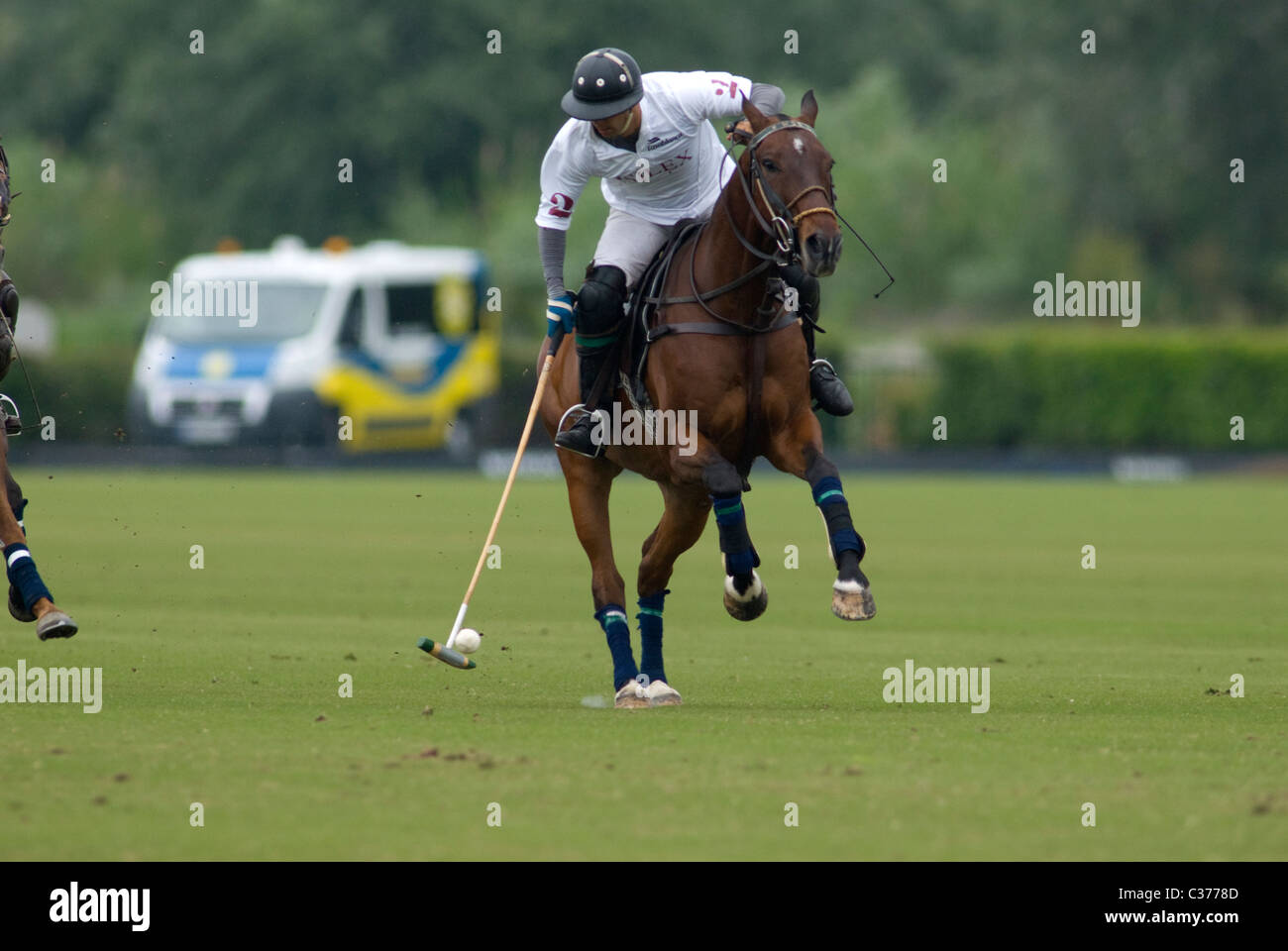 Polo player knocking  ball during match - Stock Image