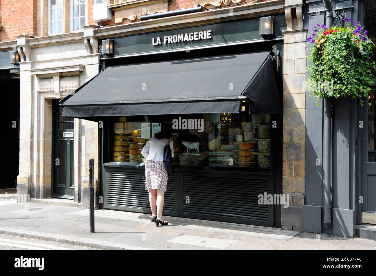 Lady looking into La Fromagerie cheese shop Moxon Street off Marylebone High Street London England UK - Stock Image