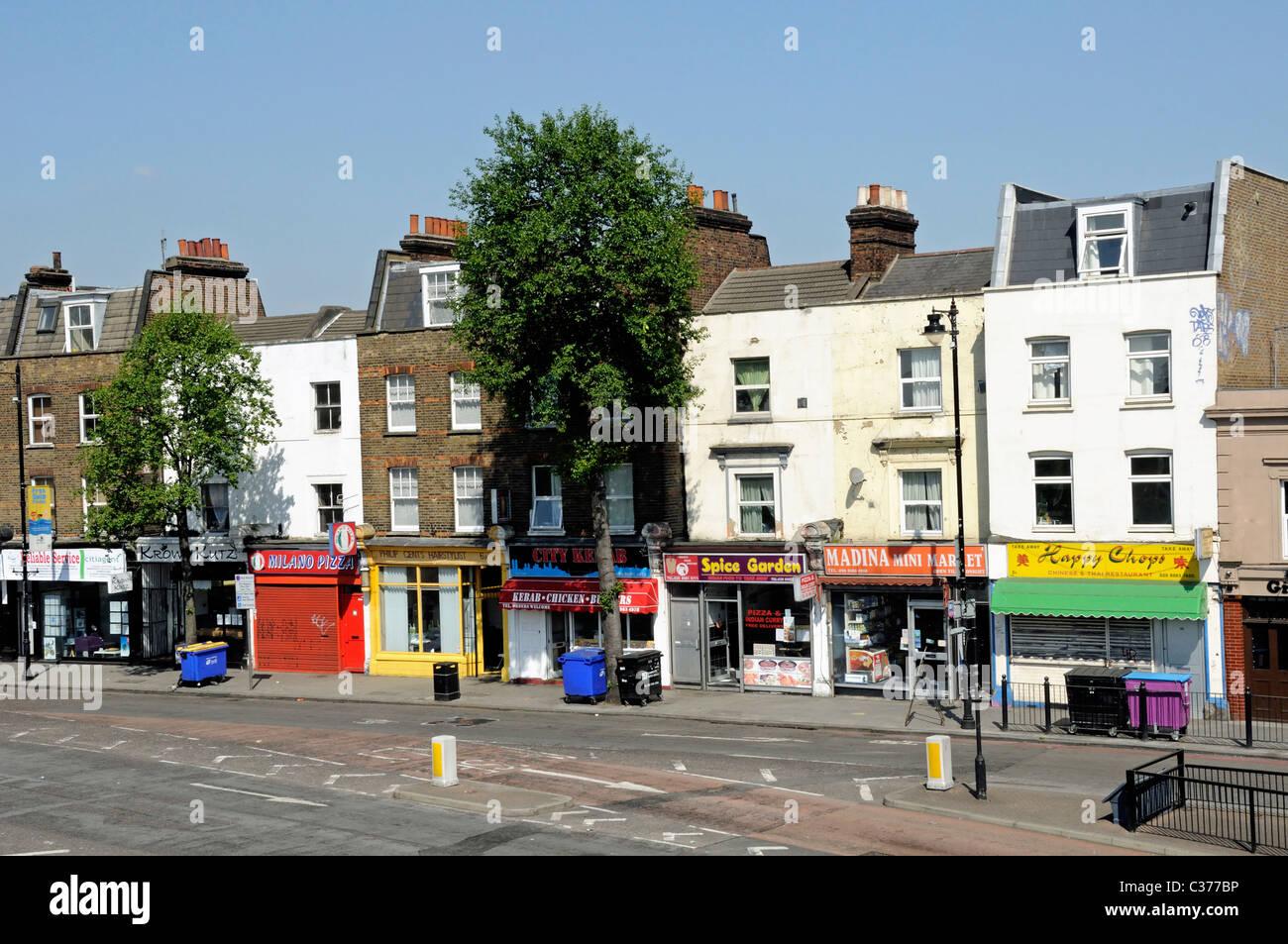 Shops, Grove Road, Bow,Tower Hamlets, East London England UK - Stock Image