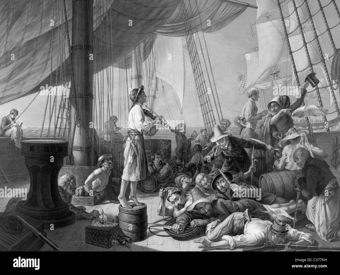 The pirates' ruse luring a merchantman in the olden days - Print demonstrating Pirates getting a merchant vessel - Stock Image
