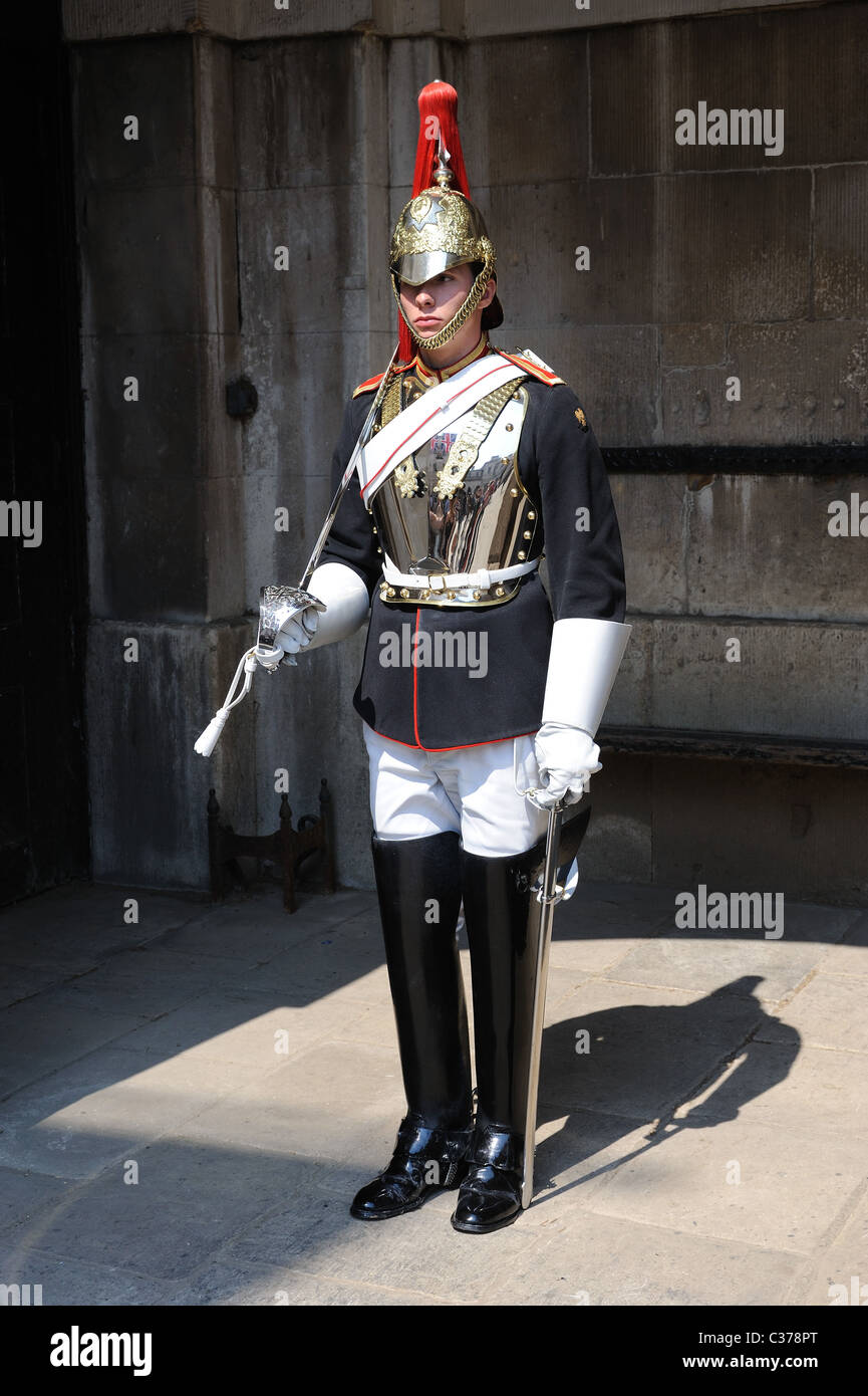 A trooper of the' Blues and Royals' on guard at Whitehall London - Stock Image