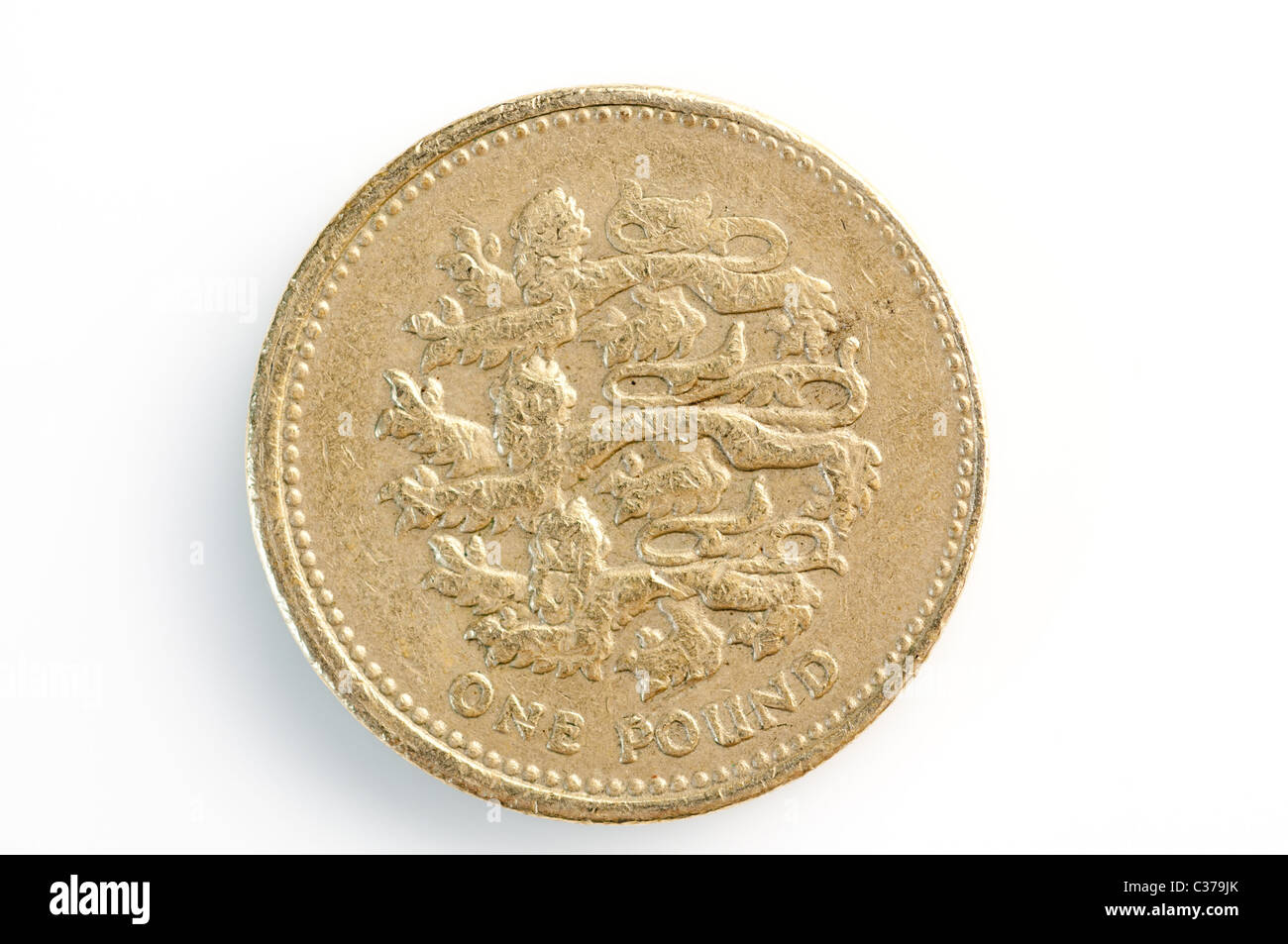 Fake Great British sterling one pound coins - Stock Image