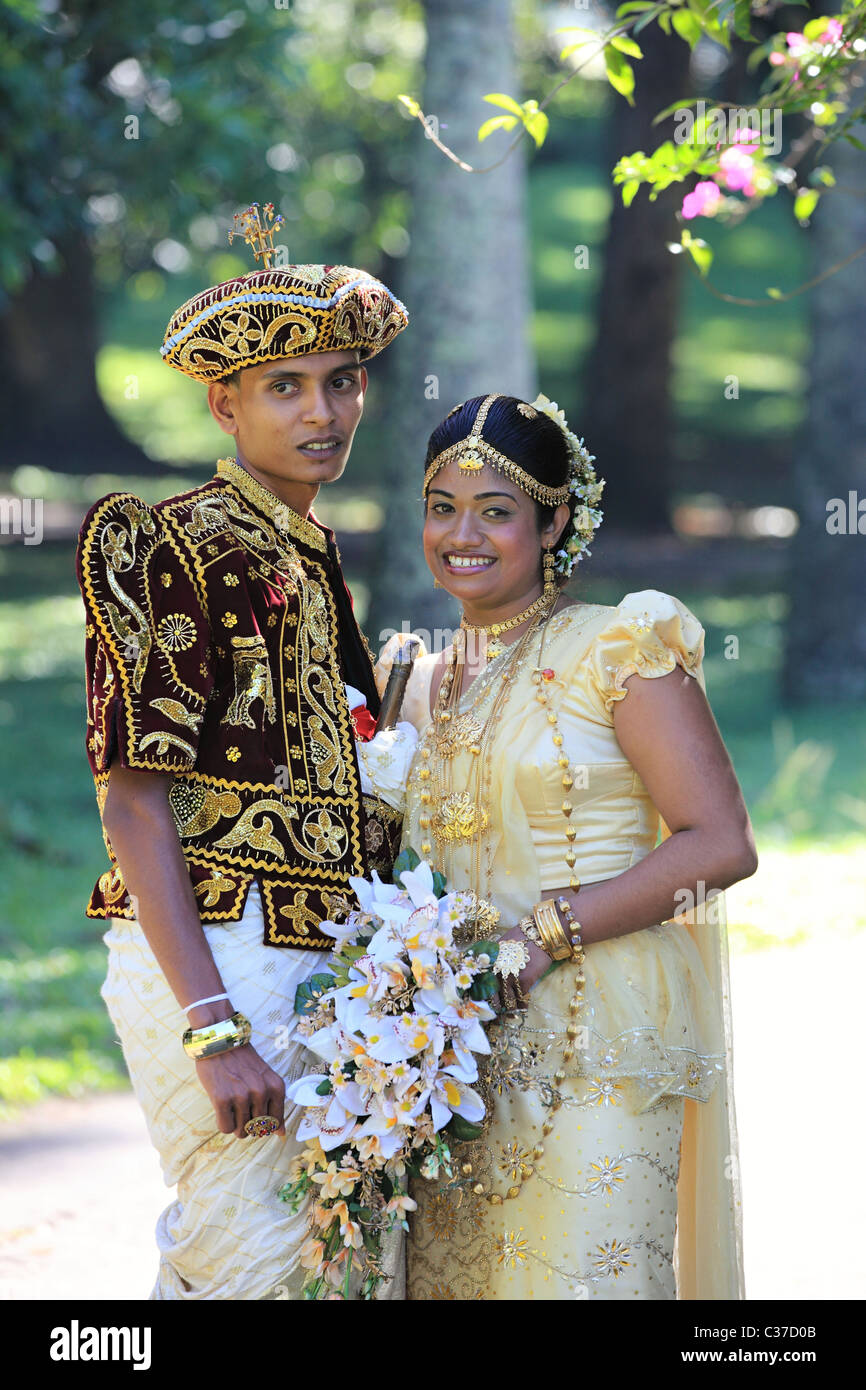 Wedding Ceremony With Traditional Dress In Sri Lanka Asia Stock