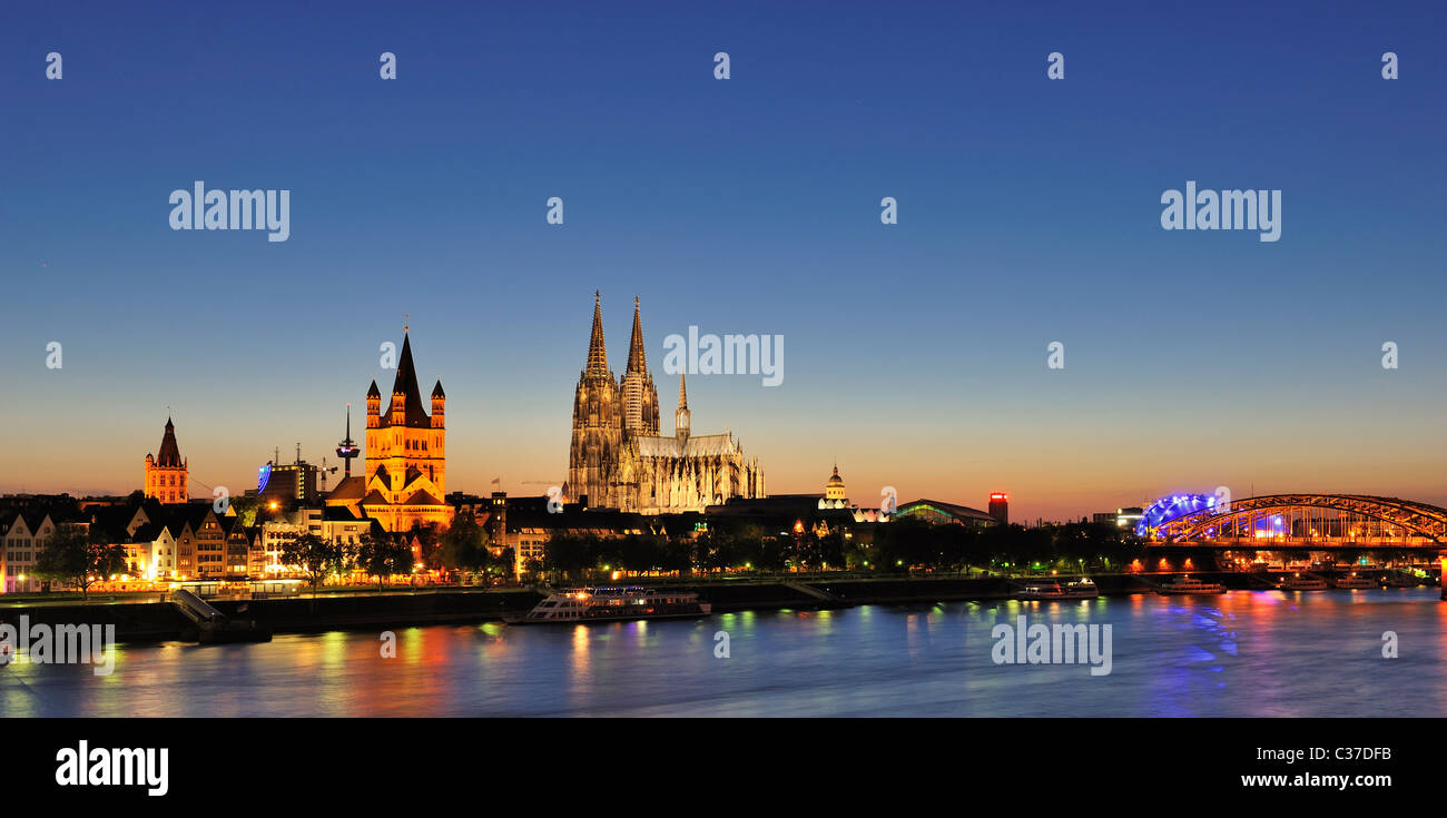 Panorama of Cologne at Night - Stock Image