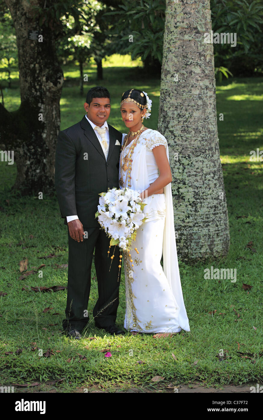 Wedding Ceremony With Traditional Dress In Sri Lanka Asia