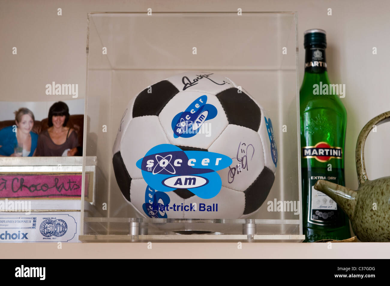 Sky Soccer AM Hat-trick football presented to musician Owen Powell for appearing 3 times on the television programme Stock Photo