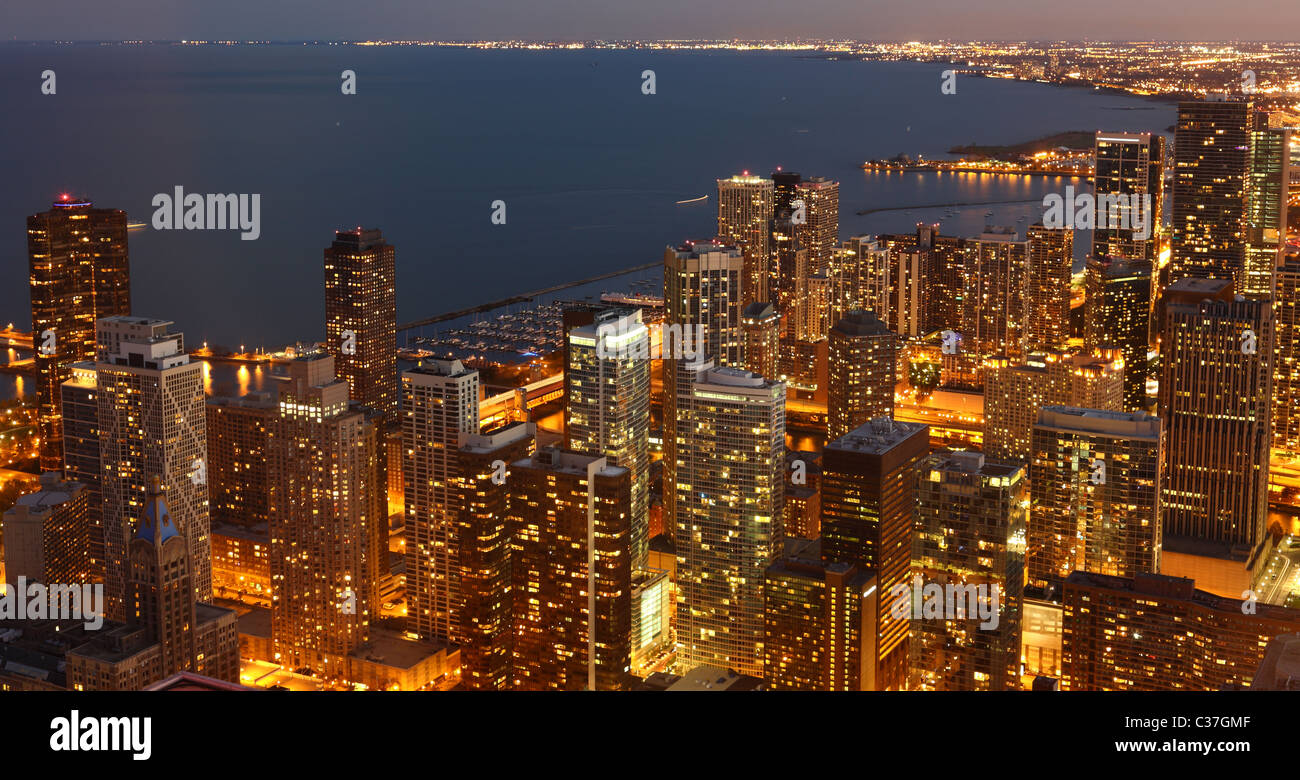 View to Downtown Chicago / USA from high above at twilight - Stock Image