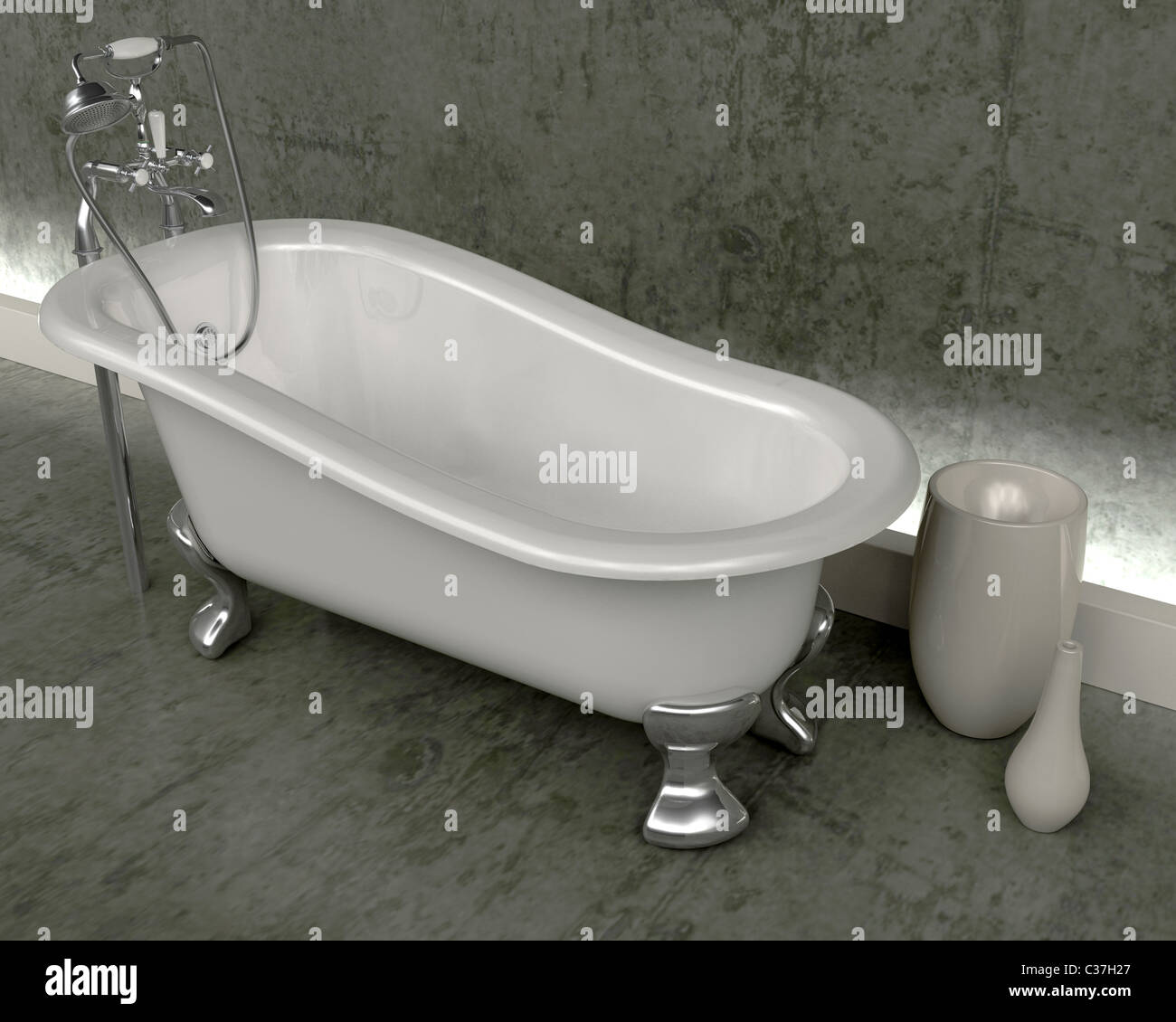 3d render of classic roll top bath and taps with shower attatchment ...