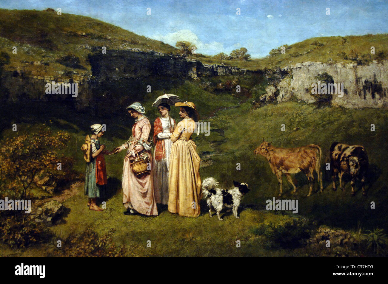 Gustave Courbet (1819-1877). French painter. Realist movement. Young ladies of the village, 1851-1852. - Stock Image
