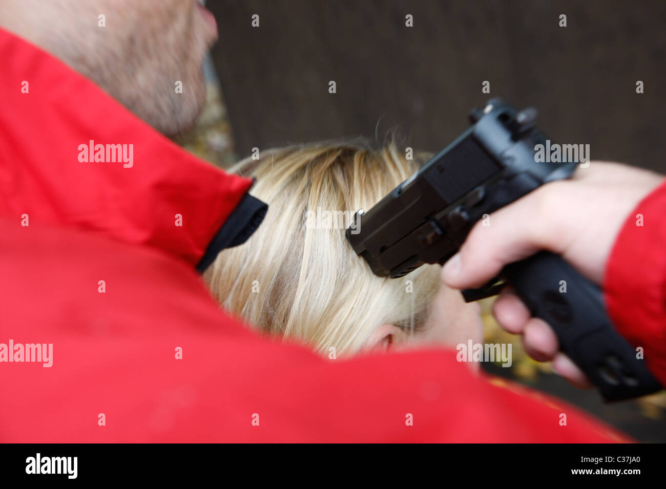 Exercise of a special police unit, SWAT team, for negotiation with suspects on a crime scene. Face to face negotiation. - Stock Image