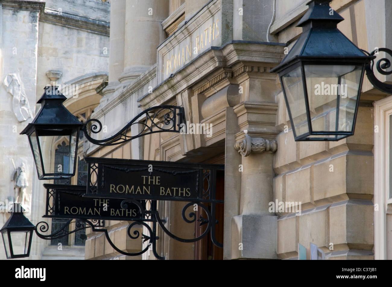 entrance sighs to the roman baths bath england - Stock Image
