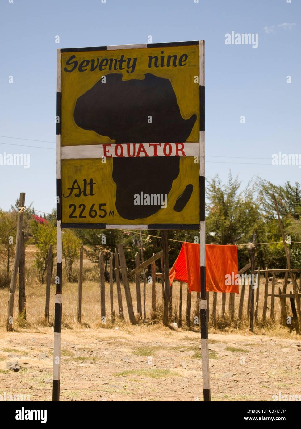 Equator line signpost, Kenya, East Africa - Stock Image