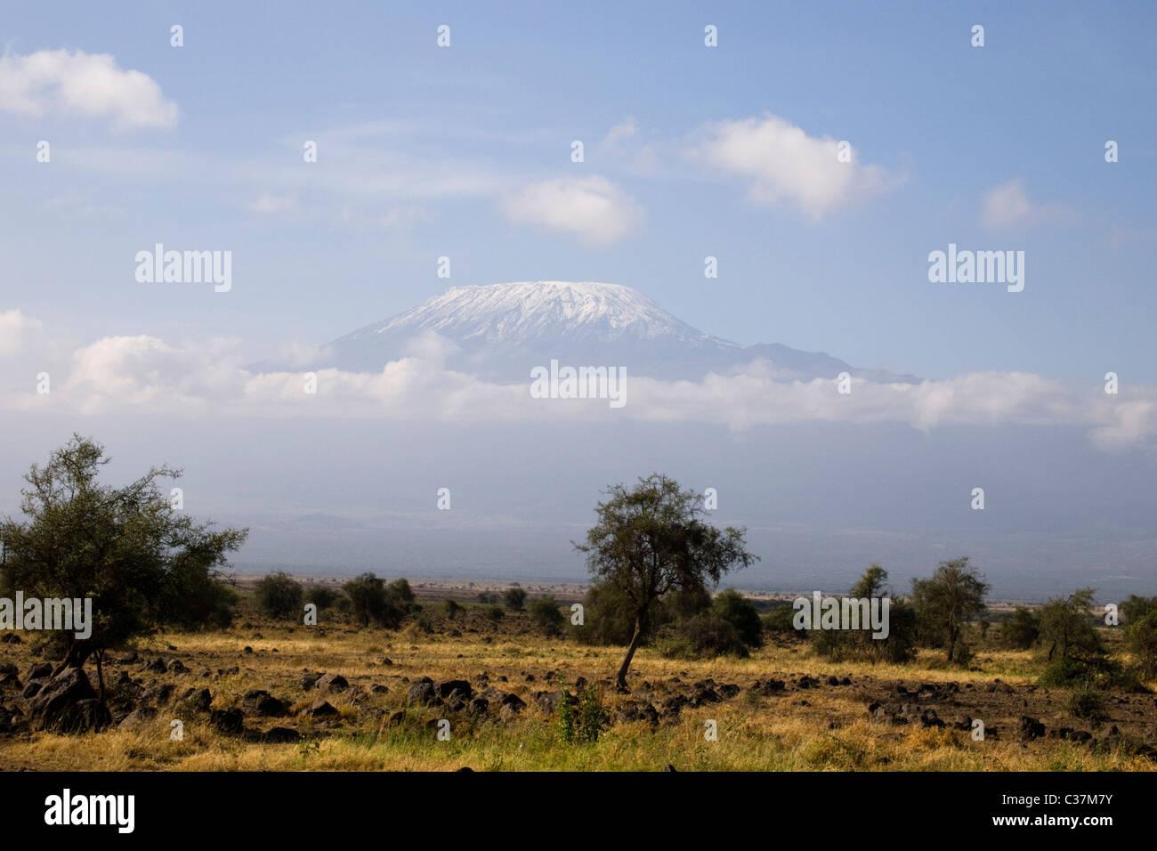 Mount Kilimanjaro as seen from Amboseli National Park, Kenya, East Africa - Stock Image