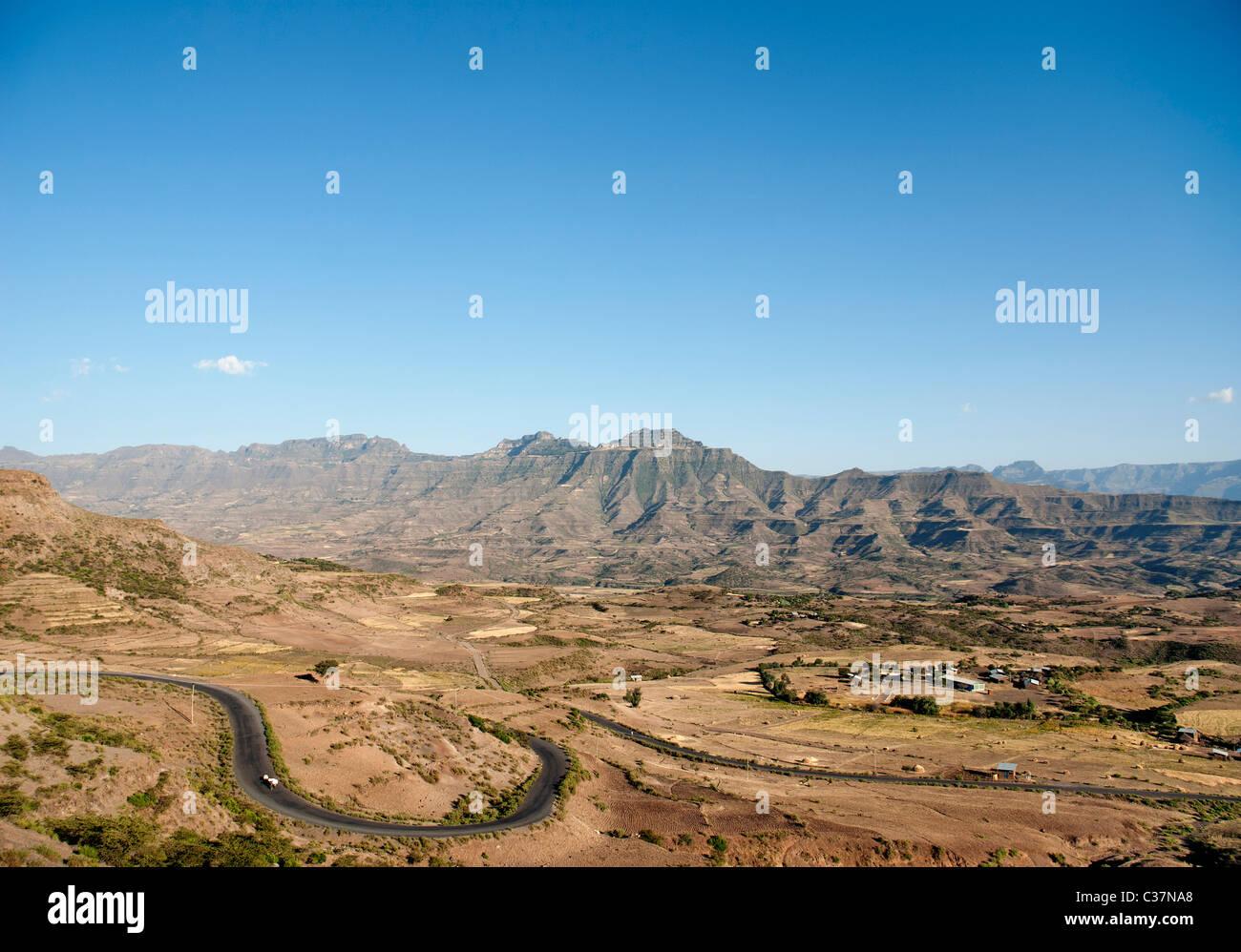 landscape near lalibela in ethiopia - Stock Image