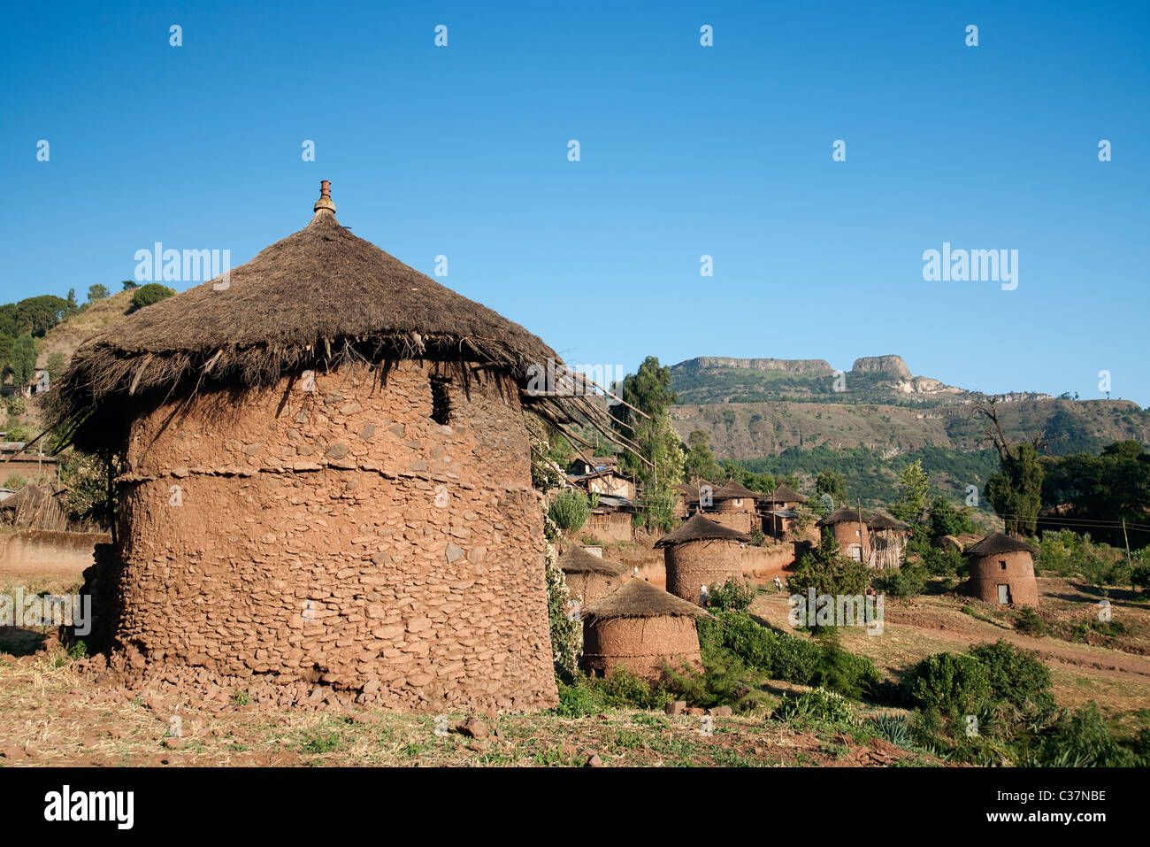 traditional african village houses in lalibela ethiopia - Stock Image