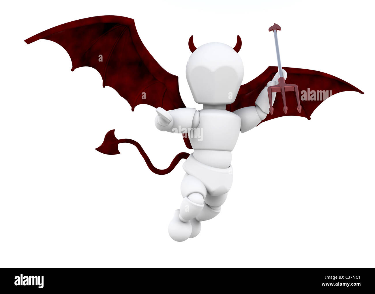 3D render of a man dressed as a devil with a fork - Stock Image