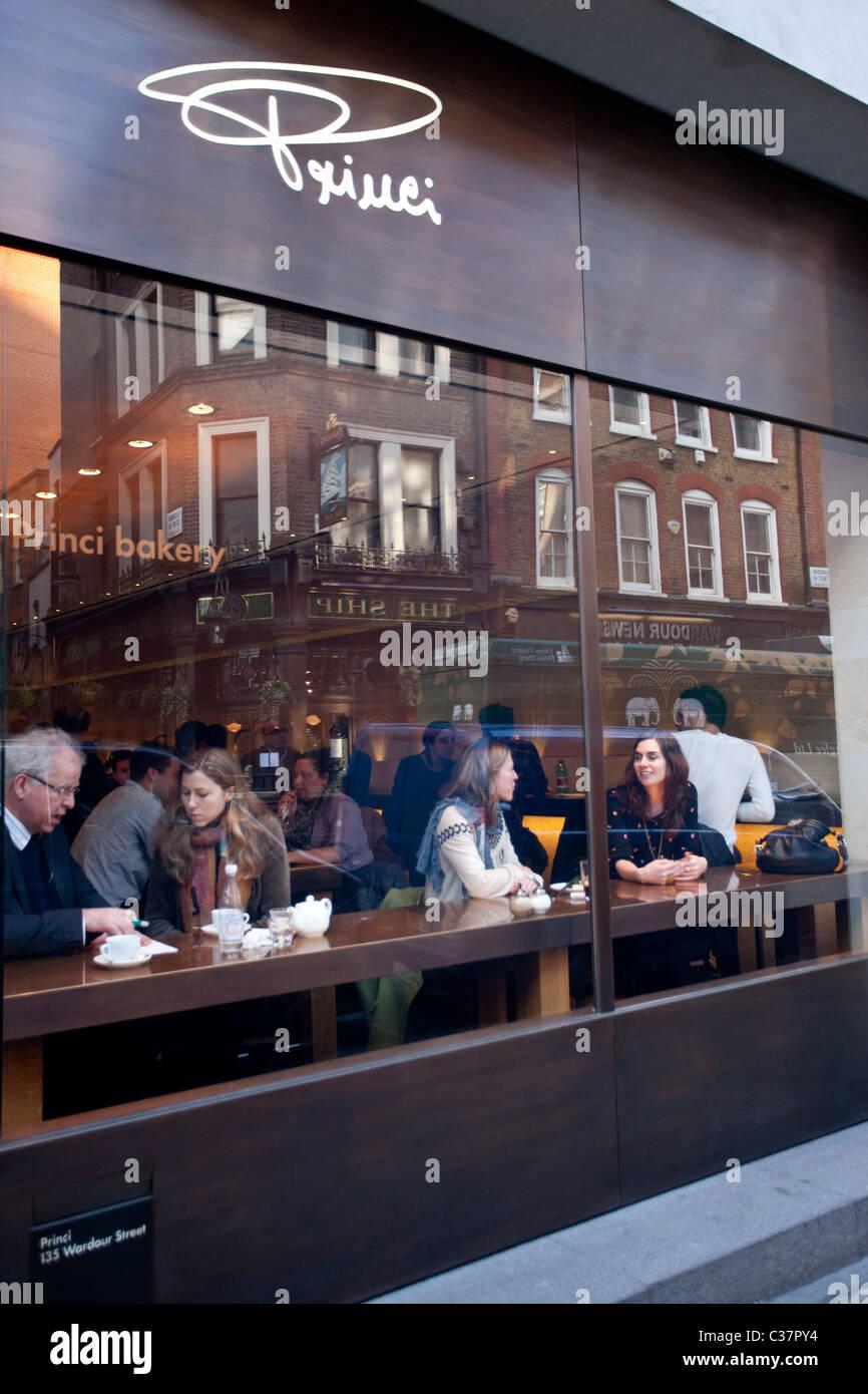 Princi bakery in Wardour Street London - Stock Image