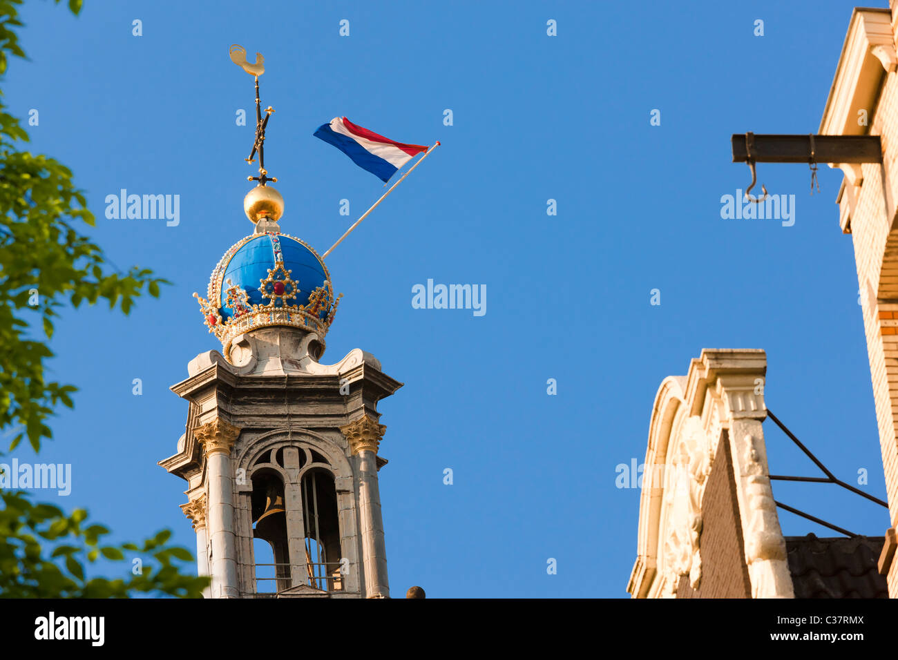 Amsterdam Westertoren, Westchurch West Western Church Tower, icon and symbol for the city. Imperial Crown and flag - Stock Image