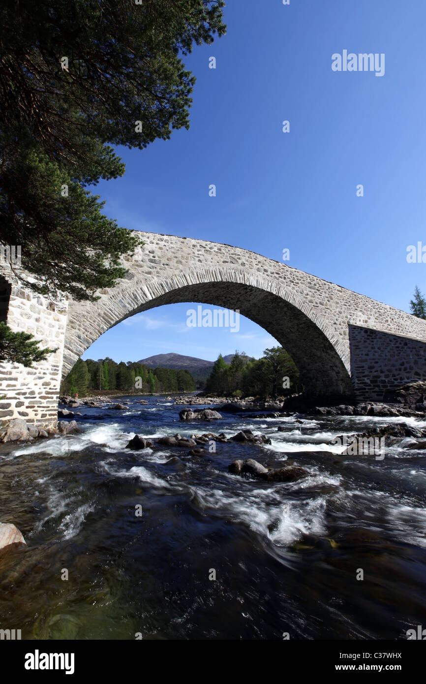 The newly refurbished (2011) old Invercauld Bridge over the River Dee near Braemar in Aberdeenshire, Scotland, UK Stock Photo