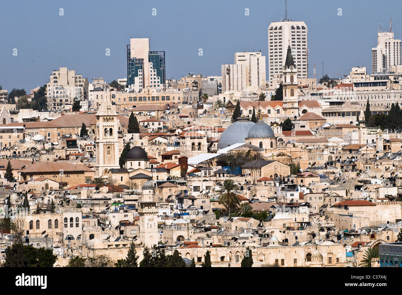 A view of the old city of Jerusalem including the church of the holy Sepulchre and the Lutheran church. - Stock Image