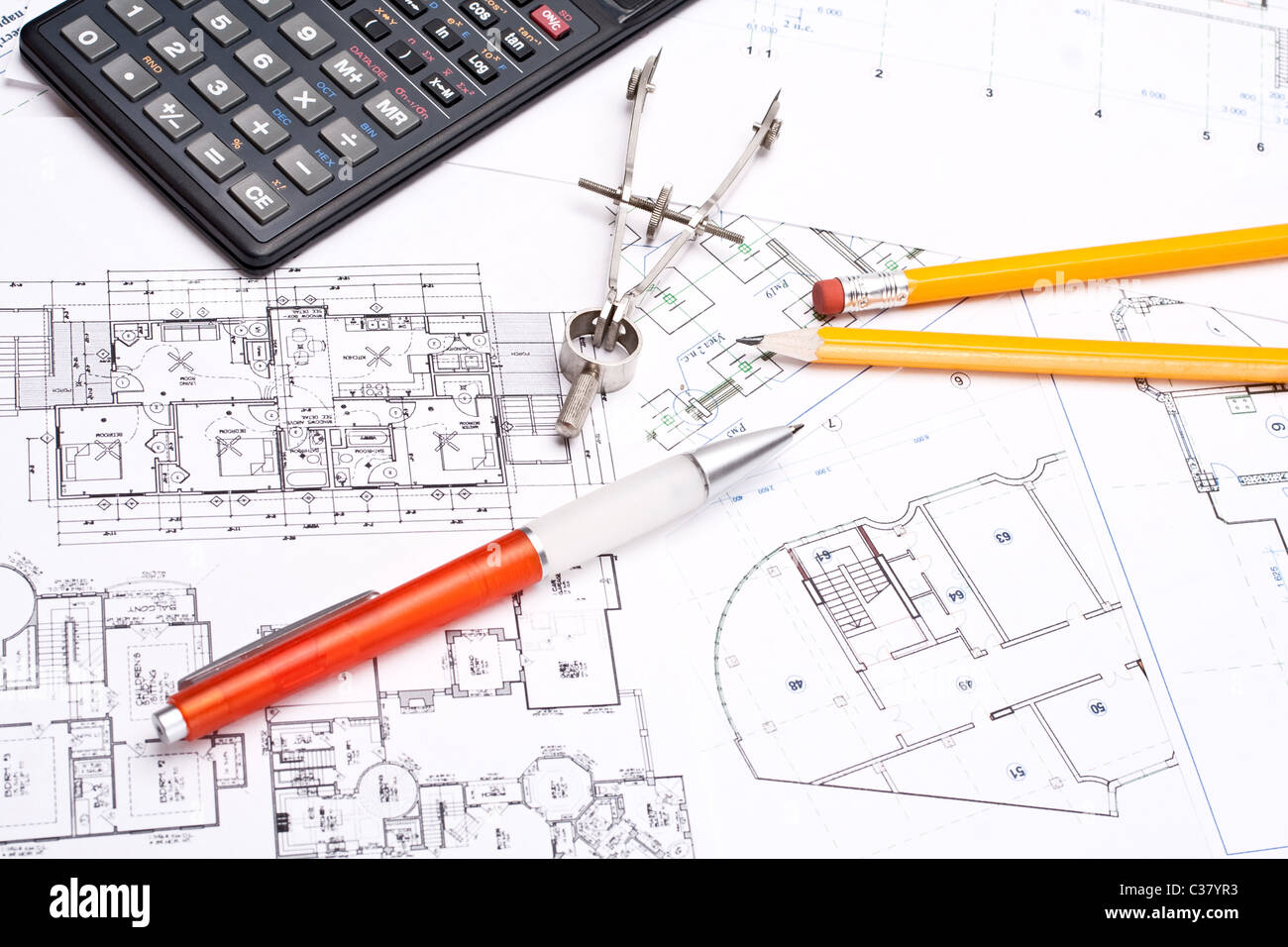 engineering and architecture drawings with pencil - Stock Image