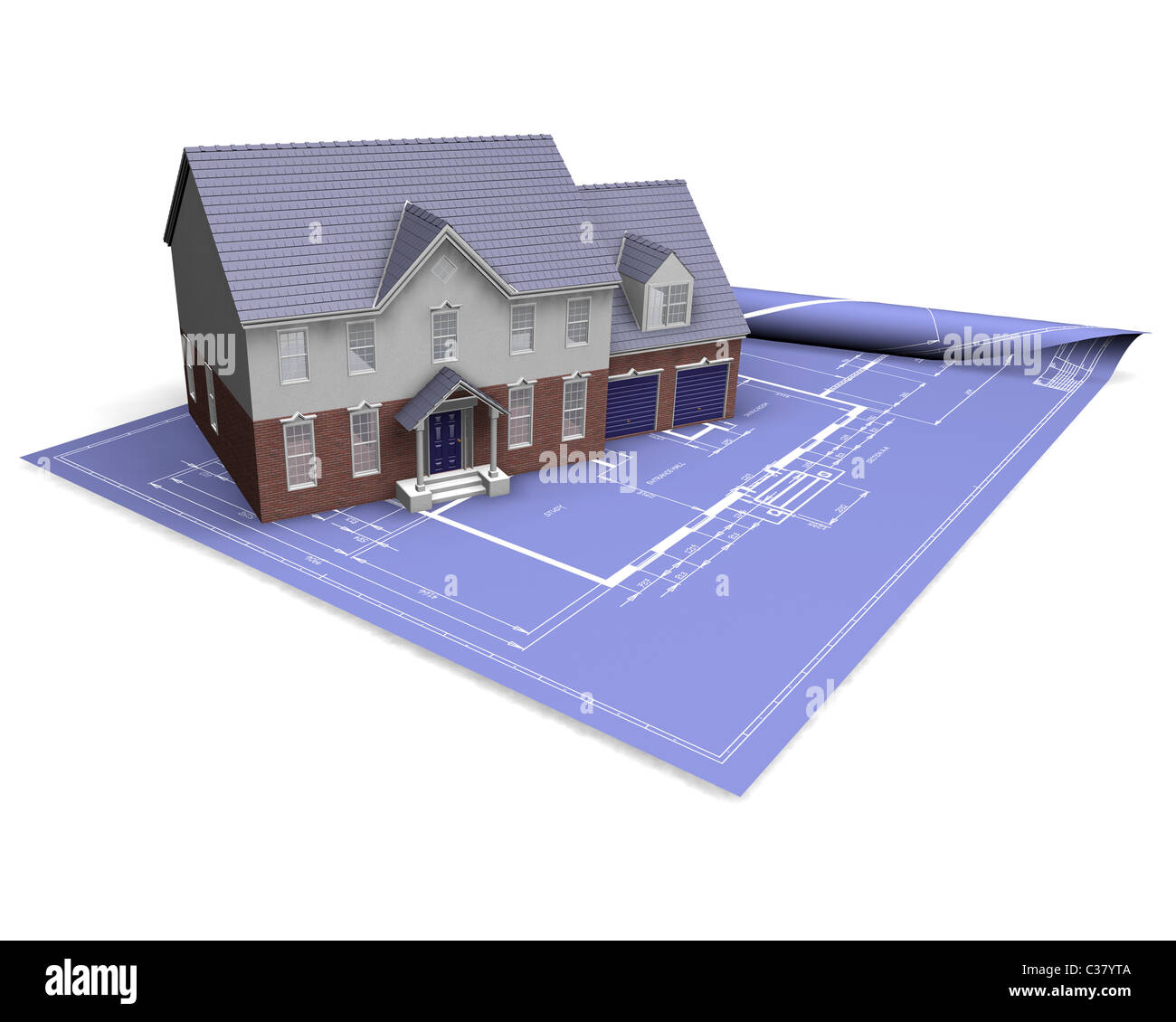 3D render of a modern house on blueprints - Stock Image