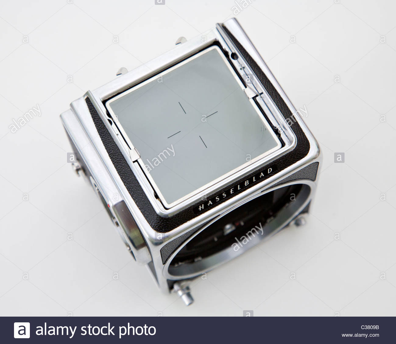 Focusing Screen from a Hasselblad 500cm medium format camera with lens and film back removed. - Stock Image