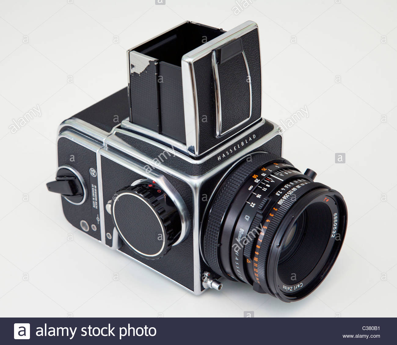 Hasselblad 500cm medium format camera with 50mm Zeiss lens and A-12 film back. - Stock Image