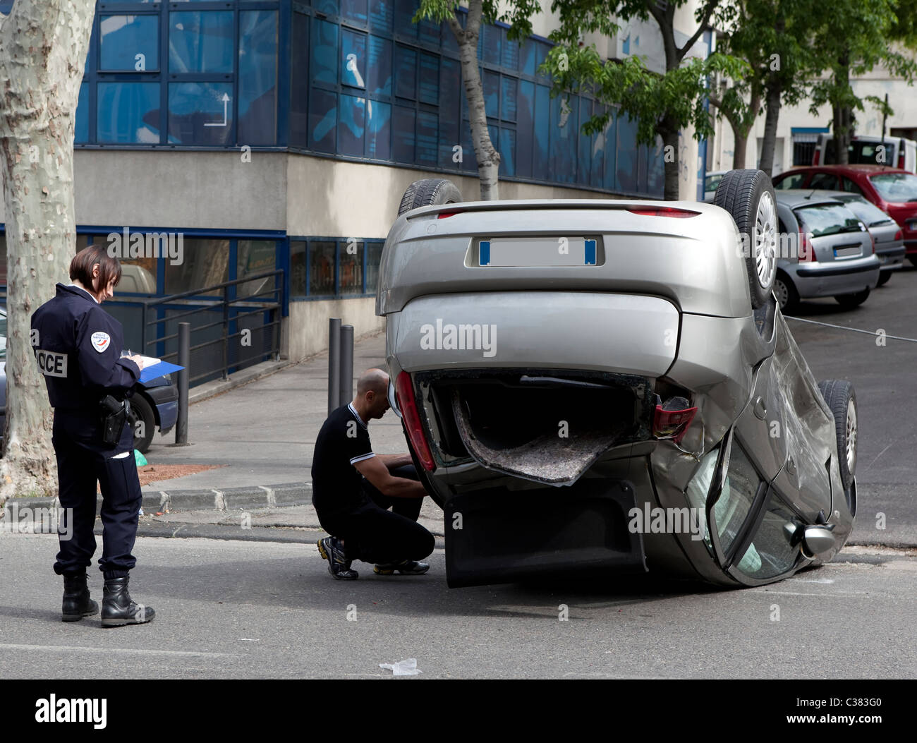 Traffic accident crossing Cours Gouffé,rue de l'Abbé Féraud in Marseille on April 25th at 10:30 am Stock Photo