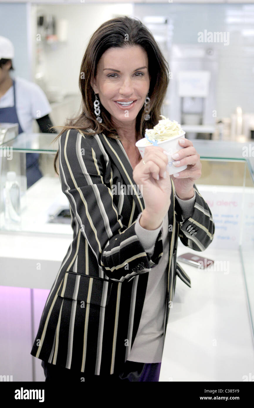Janice Dickinson goes to Yogen Fruz in Beverly Hills with friends Los Angeles, California - 02.04.09 - Stock Image