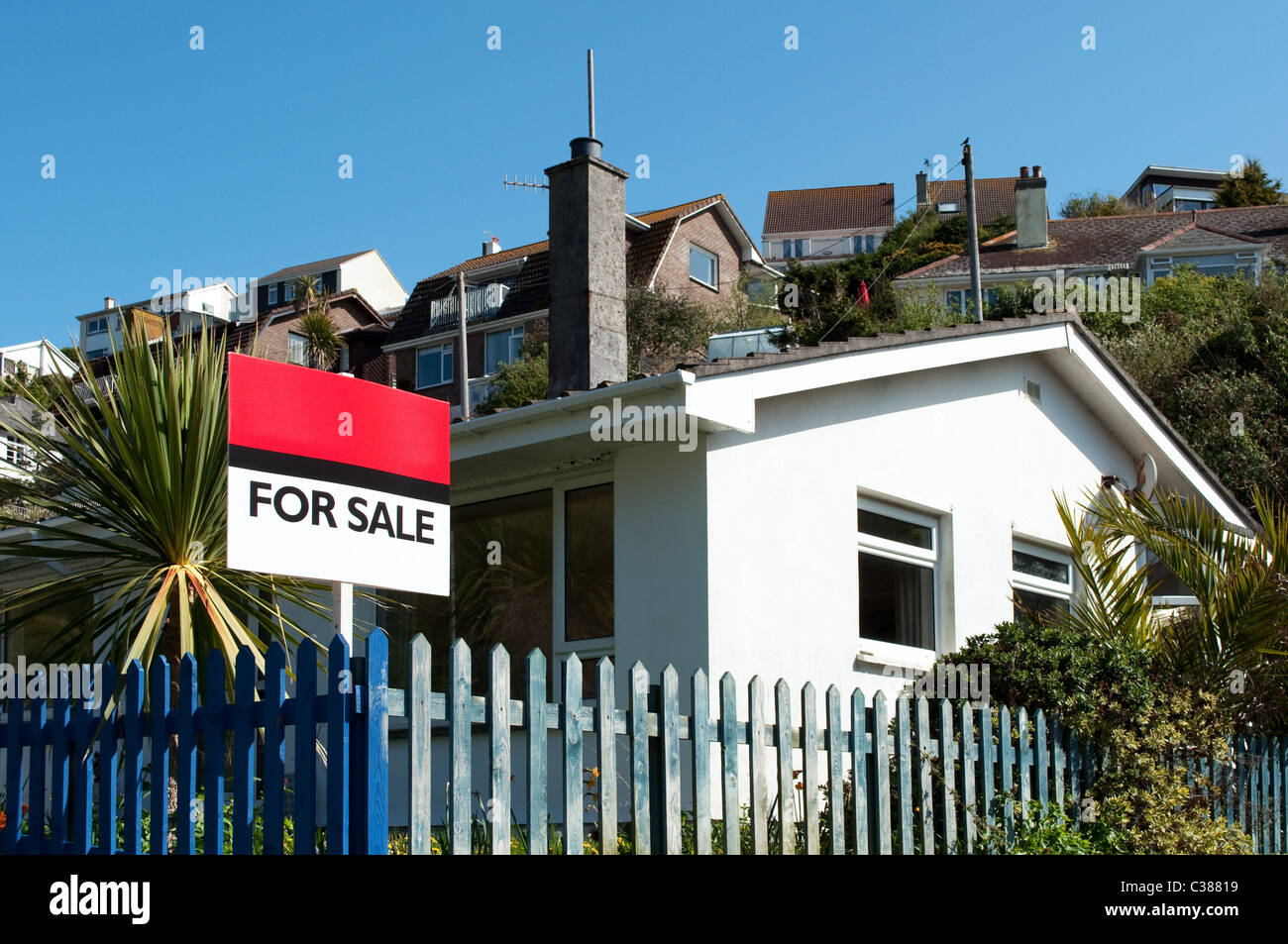 A house for sale in Downderry, Cornwal, UK - Stock Image